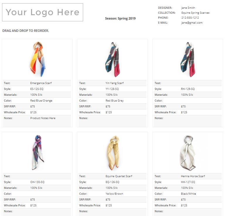 how to create a fashion line sheet for wholesale